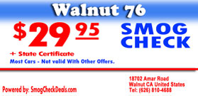 Smog Coupon, 29.95 Smog Cheack Walnut CA
